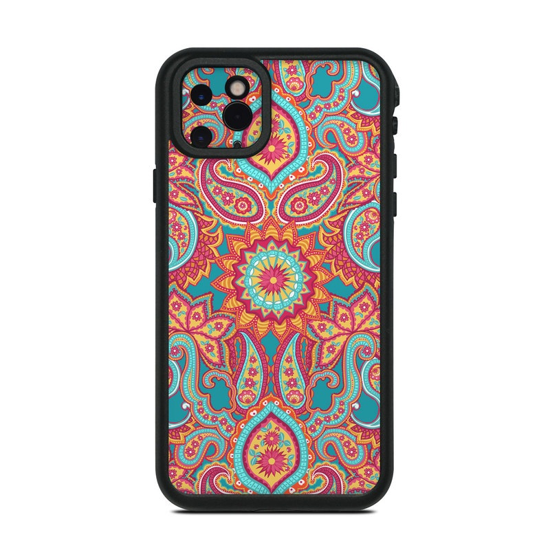 Lifeproof iPhone 11 Pro Max fre Case Skin design of Pattern, Paisley, Motif, Visual arts, Design, Art, Textile, Psychedelic art with orange, yellow, blue, red colors