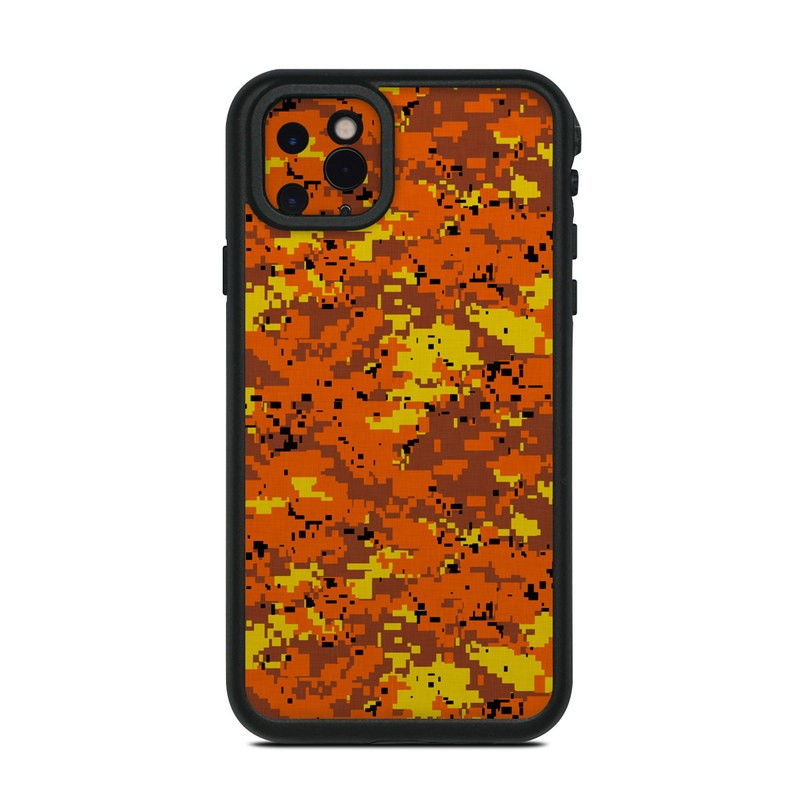 Lifeproof iPhone 11 Pro Max fre Case Skin design of Orange, Yellow, Leaf, Tree, Pattern, Autumn, Plant, Deciduous with red, green, black colors