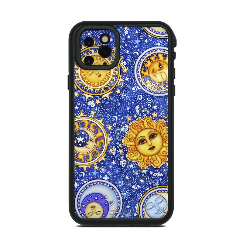 Lifeproof iPhone 11 Pro Max fre Case Skin design of Pattern, Textile, Art, Design, Visual arts, Circle, Tapestry with blue, gray, green, purple, black colors