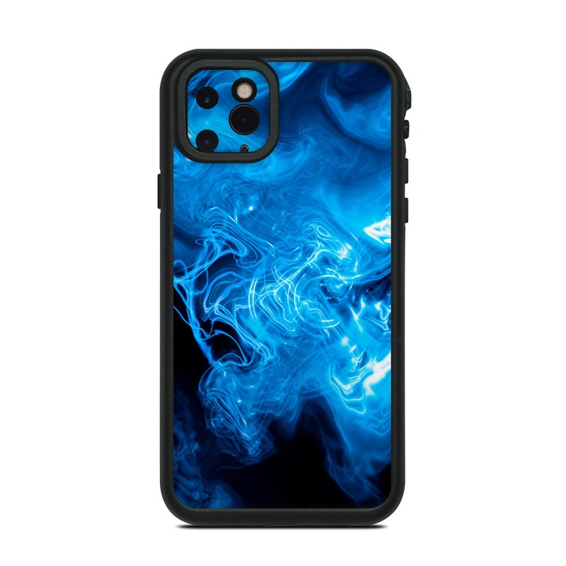 Lifeproof iPhone 11 Pro Max fre Case Skin design of Blue, Water, Electric blue, Organism, Pattern, Smoke, Liquid, Art with blue, black, purple colors