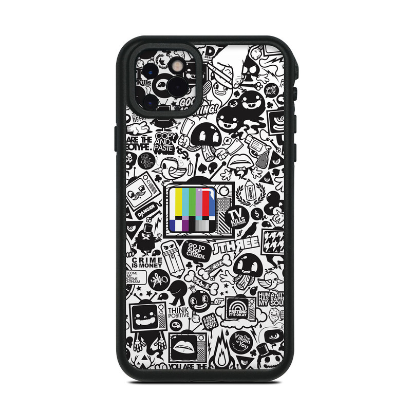 Lifeproof iPhone 11 Pro Max fre Case Skin design of Pattern, Drawing, Doodle, Design, Visual arts, Font, Black-and-white, Monochrome, Illustration, Art with gray, black, white colors