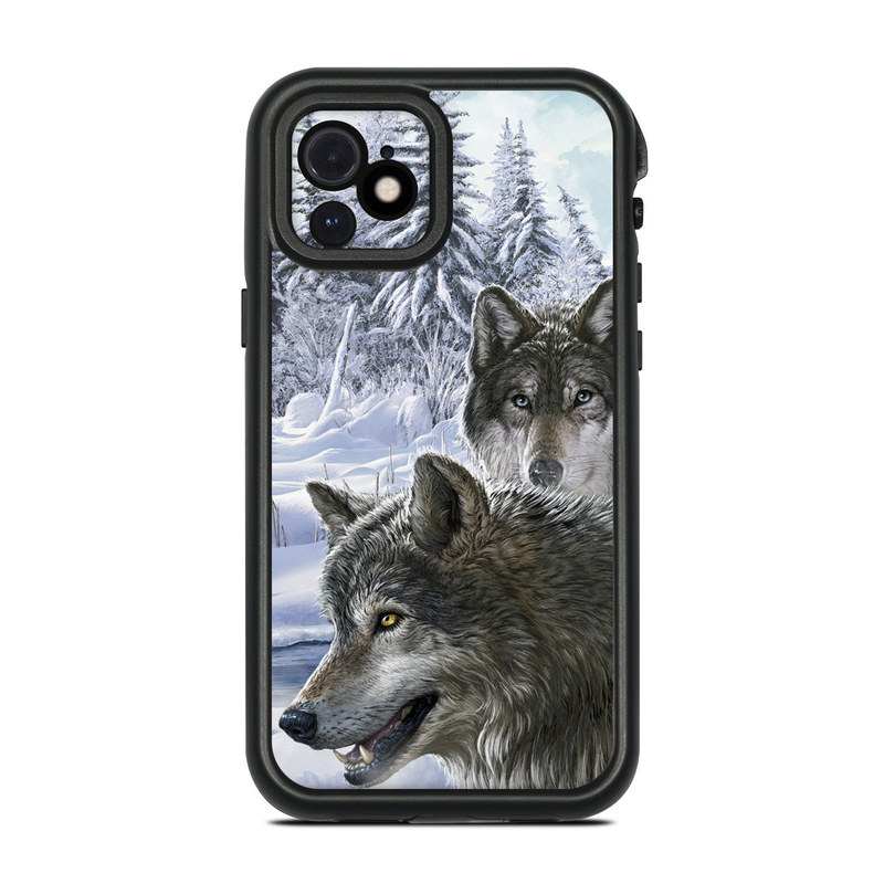 Lifeproof iPhone 12 fre Case Skin design of Mammal, Vertebrate, Wolf, Canidae, canis lupus tundrarum, Canis, Wildlife, Carnivore, Wolfdog, Dog with gray, black, blue, purple colors