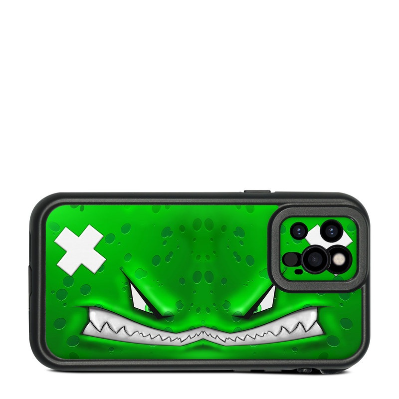 Lifeproof iPhone 12 Pro fre Case Skin design of Green, Font, Animation, Logo, Graphics, Games with green, white colors
