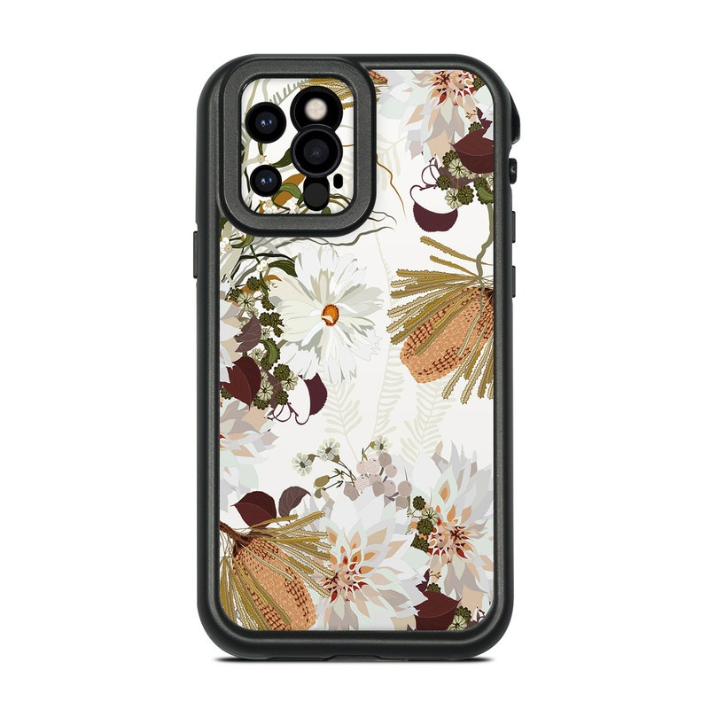 Lifeproof iPhone 12 Pro fre Case Skin design of Flower, Botany, Plant, Floral design, Wildflower, Pattern, Wallpaper, Textile, Petal, Butterfly with white, brown, green, gray colors