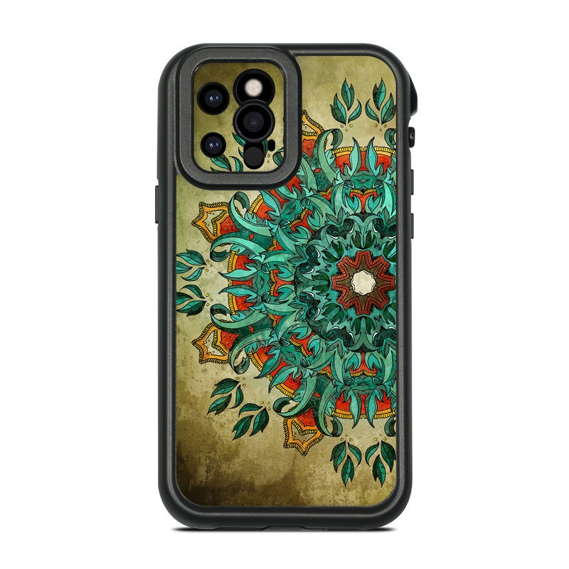 Lifeproof iPhone 12 Pro fre Case Skin design of Art, Pattern, Illustration, Visual arts, Psychedelic art, Design, Modern art, Textile, Drawing, Plant with black, green, gray, blue, red colors