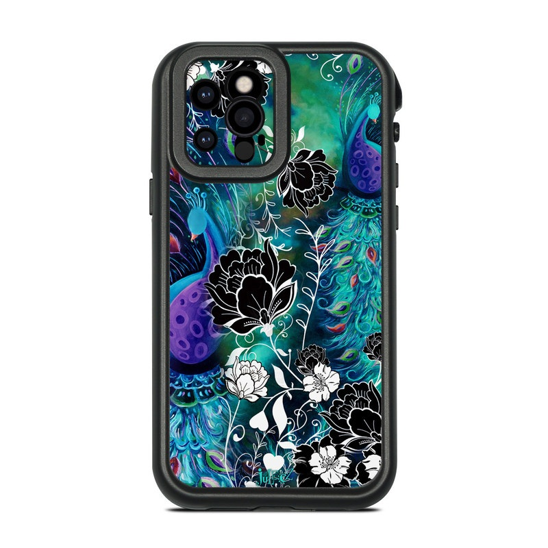 Lifeproof iPhone 12 Pro fre Case Skin design of Pattern, Psychedelic art, Organism, Turquoise, Purple, Graphic design, Art, Design, Illustration, Fractal art with black, blue, gray, green, white colors