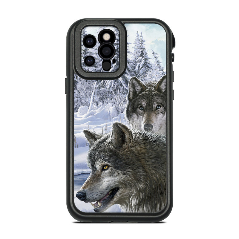 Lifeproof iPhone 12 Pro fre Case Skin design of Mammal, Vertebrate, Wolf, Canidae, canis lupus tundrarum, Canis, Wildlife, Carnivore, Wolfdog, Dog with gray, black, blue, purple colors