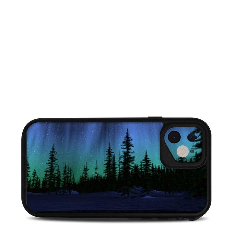 Lifeproof iPhone 11 fre Case Skin design of Aurora, Nature, Sky, shortleaf black spruce, Natural landscape, Tree, Wilderness, Natural environment, Biome, Spruce-fir forest with blue, purple, green, black colors