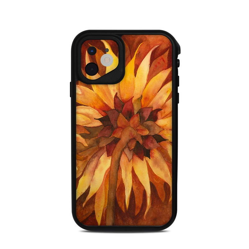 Lifeproof iPhone 11 fre Case Skin design of Sunflower, Flower, sunflower, Yellow, Painting, Plant, Petal, Still life photography, Flowering plant, Still life with yellow, brown, orange colors