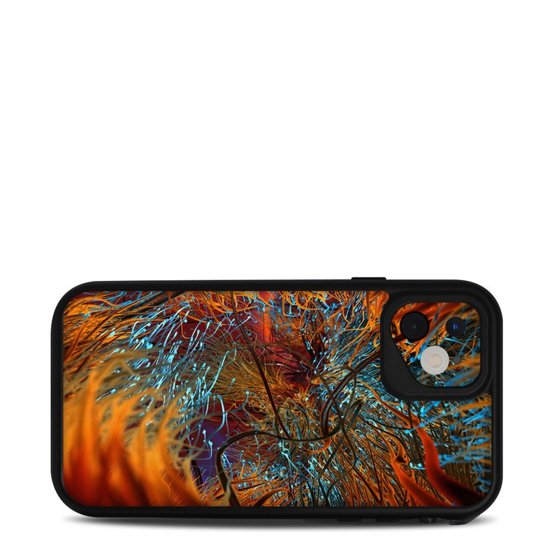 Lifeproof iPhone 11 fre Case Skin design of Orange, Tree, Electric blue, Organism, Fractal art, Plant, Art, Graphics, Space, Psychedelic art with orange, blue, red, yellow, purple colors