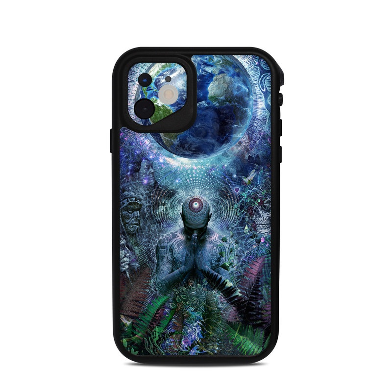Lifeproof iPhone 11 fre Case Skin design of Psychedelic art, Fractal art, Art, Space, Organism, Earth, Sphere, Graphic design, Circle, Graphics with blue, green, gray, purple, pink, black, white colors