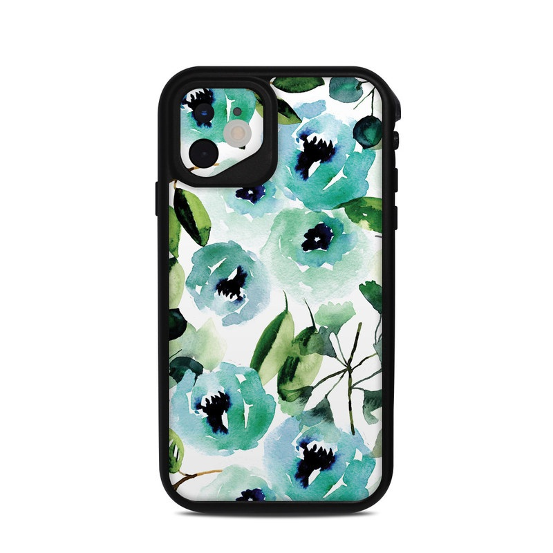 Lifeproof iPhone 11 fre Case Skin design of Green, Pattern, Leaf, Aqua, Plant, Design, Branch, Organism, Flower, Ivy with white, green, blue, black colors