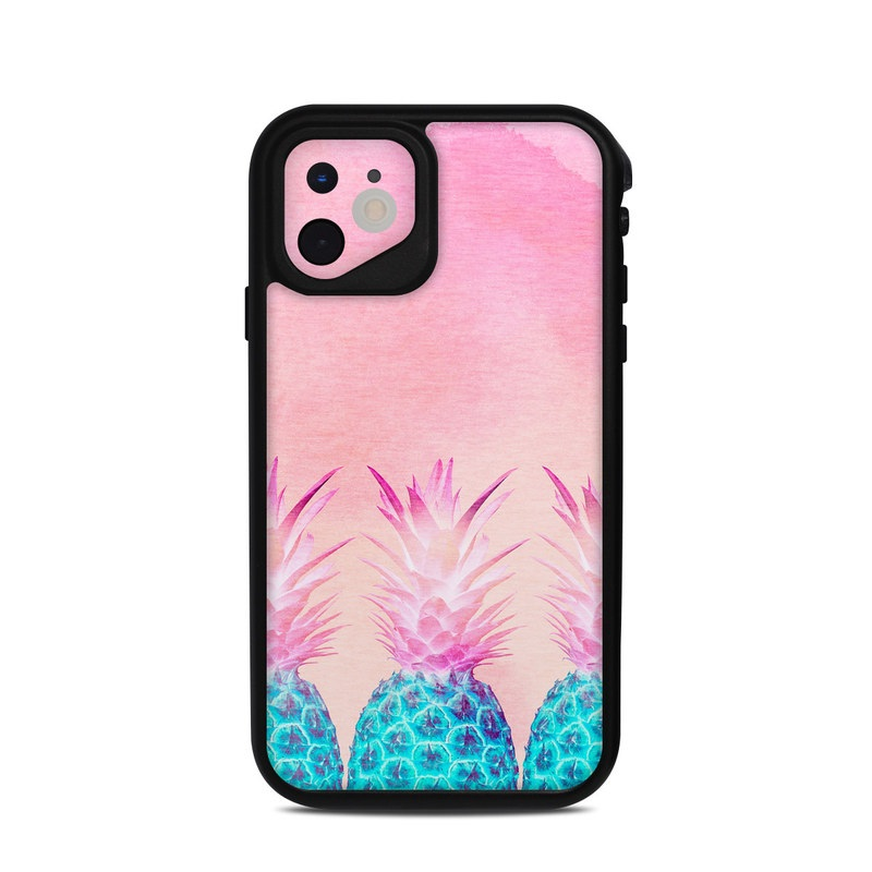 Lifeproof iPhone 11 fre Case Skin design of Pineapple, Ananas, Pink, Fruit, Plant, Bromeliaceae, Pattern, Poales with pink, blue, orange colors