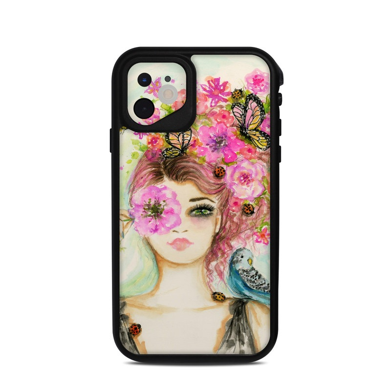 Lifeproof iPhone 11 fre Case Skin design of Face, Watercolor paint, Illustration, Pink, Head, Fashion illustration, Beauty, Art, Cheek, Painting with white, pink, green, blue, yellow, red, brown colors