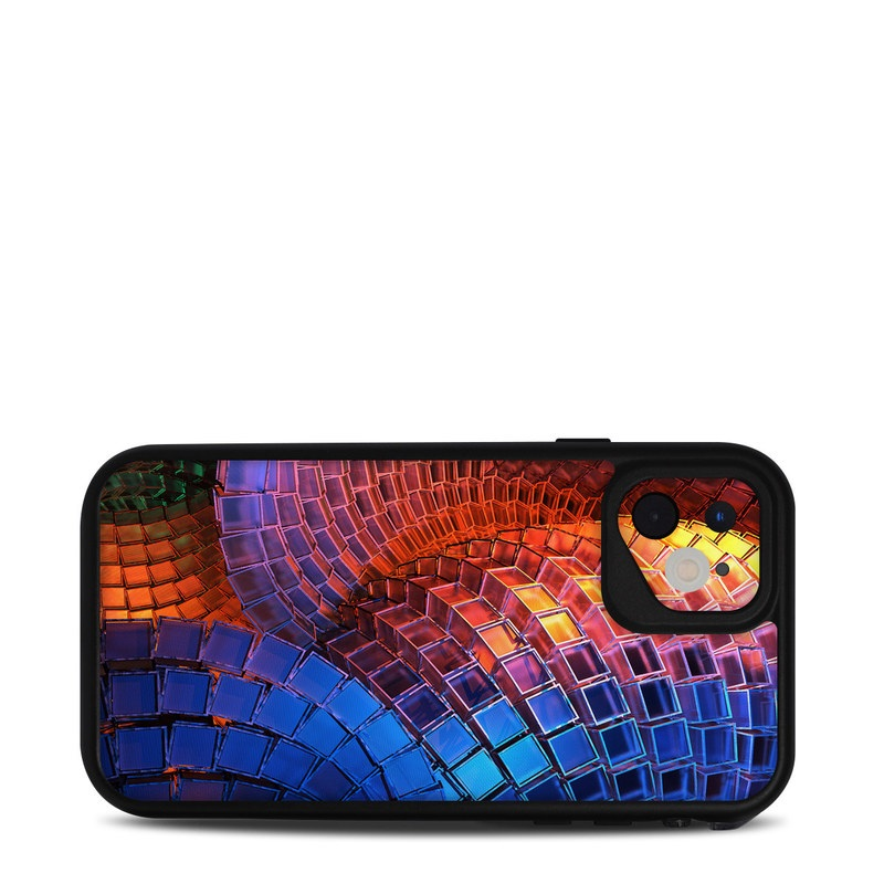 Lifeproof iPhone 11 fre Case Skin design of Blue, Red, Orange, Light, Pattern, Architecture, Design, Fractal art, Colorfulness, Psychedelic art with black, red, blue, purple, gray colors