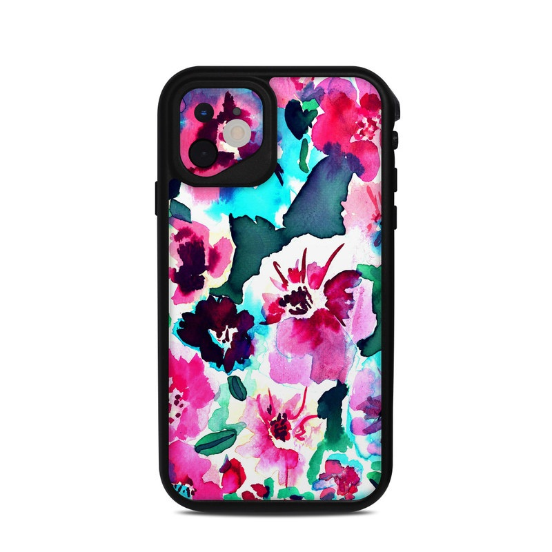 Lifeproof iPhone 11 fre Case Skin design of Flower, Pink, Petal, Plant, Pattern, Hawaiian hibiscus, Design, Magenta, Flowering plant, Watercolor paint with white, pink, blue, green, red colors