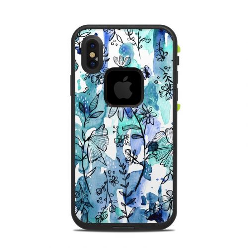 Blue Ink Floral LifeProof iPhone X fre Case Skin