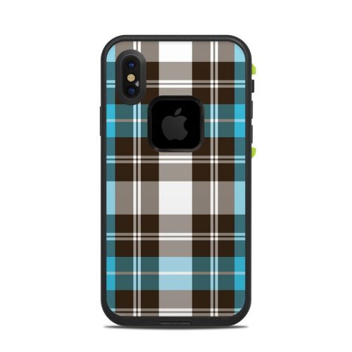 Turquoise Plaid LifeProof iPhone X fre Case Skin