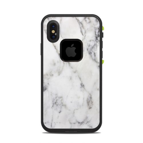 White Marble LifeProof iPhone X fre Case Skin