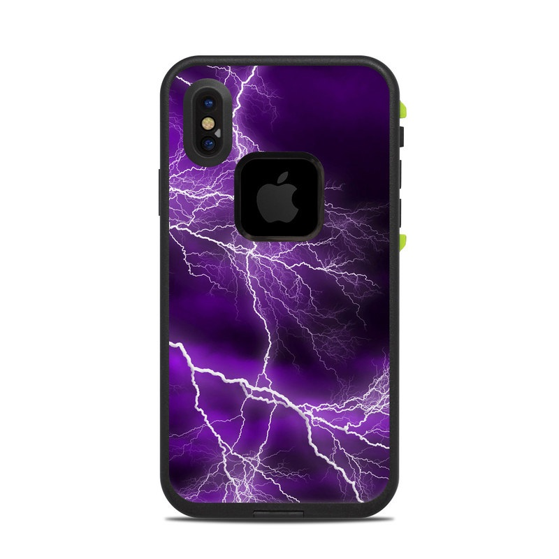 LifeProof iPhone X fre Case Skin design of Thunder, Lightning, Thunderstorm, Sky, Nature, Purple, Violet, Atmosphere, Storm, Electric blue with purple, black, white colors
