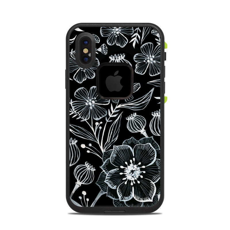 LifeProof iPhone X fre Case Skin design of Pattern, Black-and-white, Flower, Monochrome photography, Plant, Design, Monochrome, Botany, Wildflower, Visual arts with black, white colors