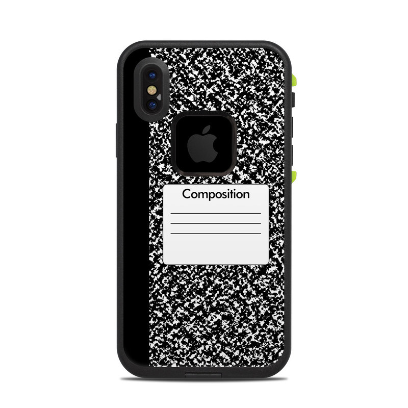 LifeProof iPhone X fre Case Skin design of Text, Font, Line, Pattern, Black-and-white, Illustration with black, gray, white colors