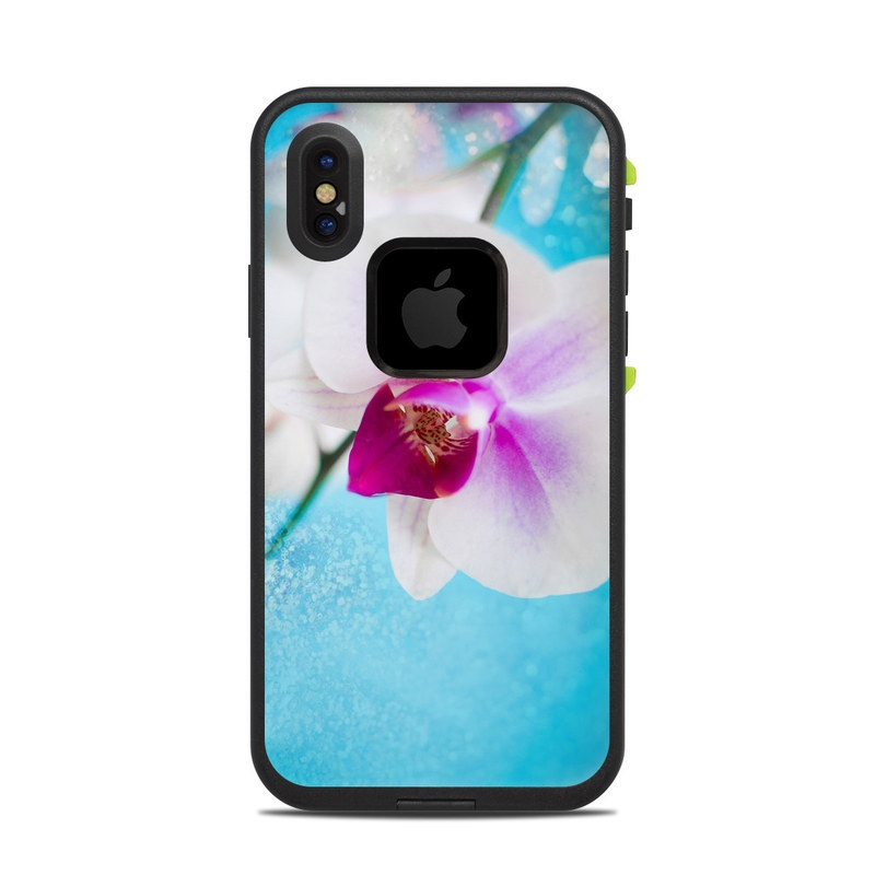 LifeProof iPhone X fre Case Skin design of Flowering plant, Petal, Flower, Pink, moth orchid, Plant, Purple, Violet, Orchid, Moth Orchid with gray, blue, purple, red colors