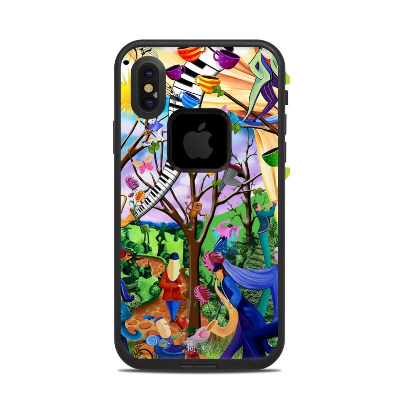 LifeProof iPhone X fre Case Skin design of Modern art, Art, Mural, Painting, Psychedelic art, Visual arts, Tree, Child art, Organism, Plant with black, gray, red, green, blue colors