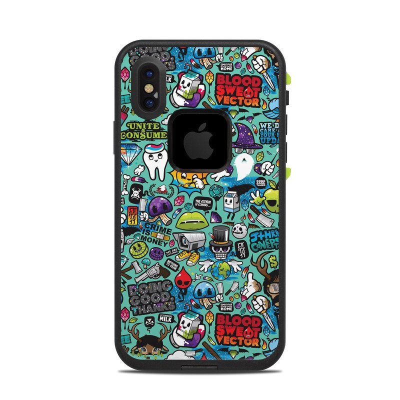 LifeProof iPhone X fre Case Skin design of Cartoon, Art, Pattern, Design, Illustration, Visual arts, Doodle, Psychedelic art with black, blue, gray, red, green colors
