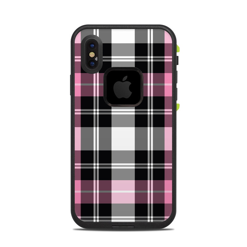 Pink Plaid LifeProof iPhone X fre Case Skin