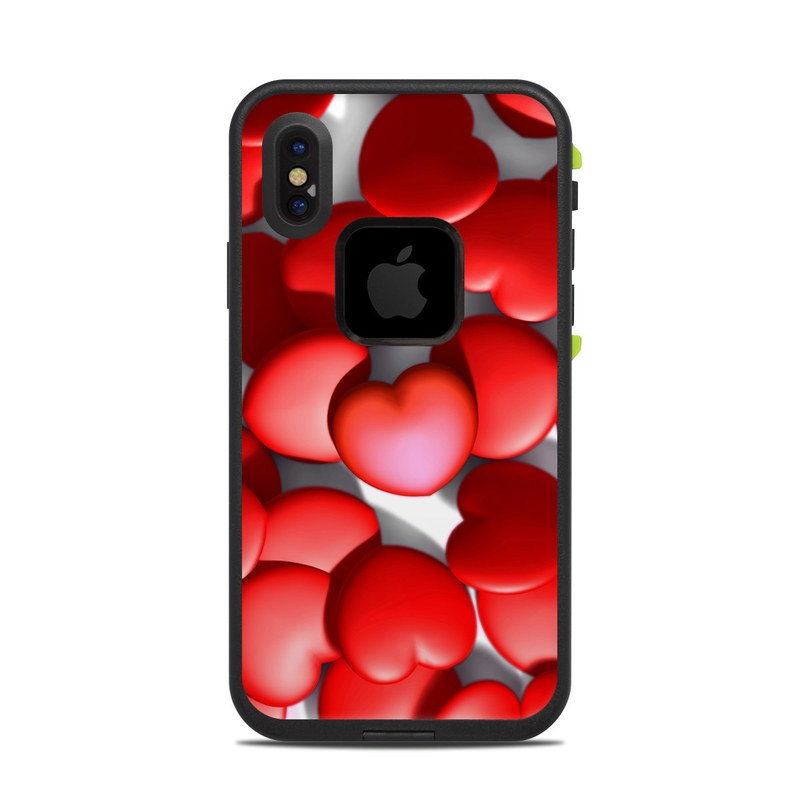 LifeProof iPhone X fre Case Skin design of Red, Heart, Valentine's day, Petal, Love, Carmine with red, white, gray, black, pink colors