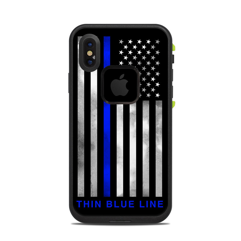LifeProof iPhone X fre Case Skin design of Line, Flag, Text, Flag of the united states, Font, Parallel, Symmetry, Black-and-white, Pattern, Graphics with black, white, gray, blue colors