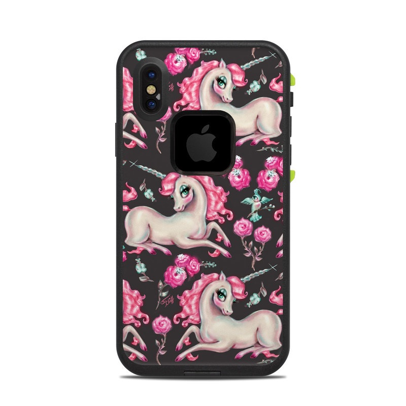 LifeProof iPhone X fre Case Skin design of Pink, Horse, Pony, Fictional character, Unicorn, Mythical creature, Mane, Textile, Animal figure, Illustration with white, pink, blue, black, red colors