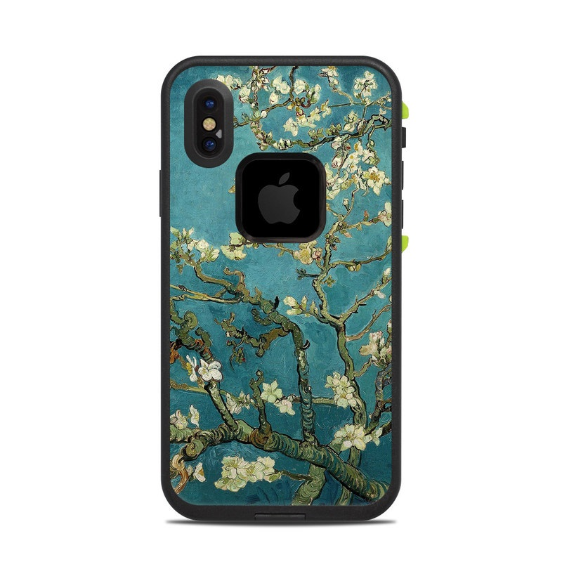 LifeProof iPhone X fre Case Skin design of Tree, Branch, Plant, Flower, Blossom, Spring, Woody plant, Perennial plant with blue, black, gray, green colors