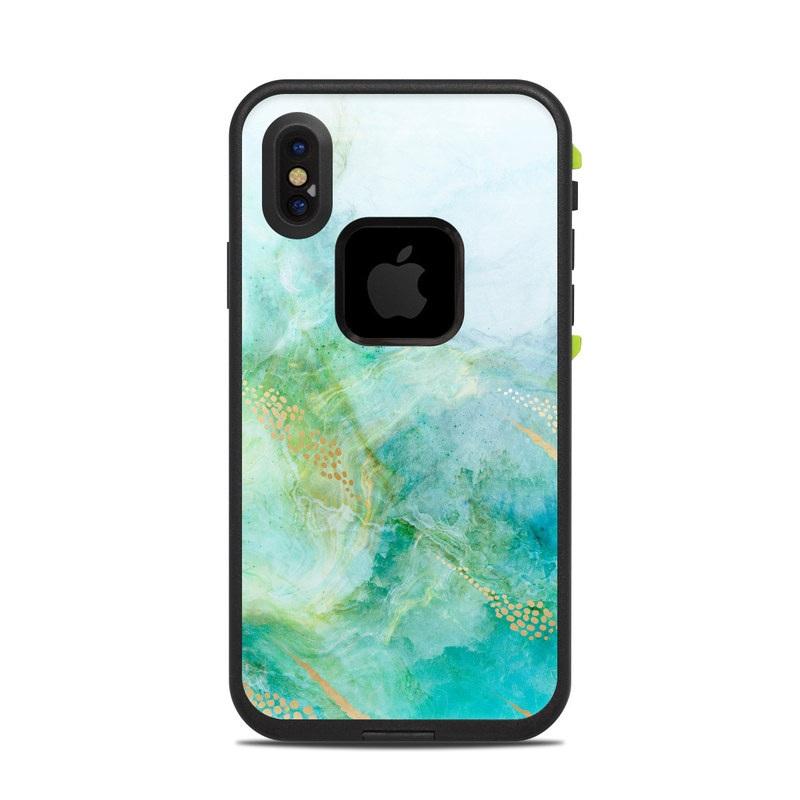 LifeProof iPhone X fre Case Skin design of Blue, Watercolor paint, Aqua, Line, Sky, Design, Pattern, Art, Illustration with blue, yellow, orange colors