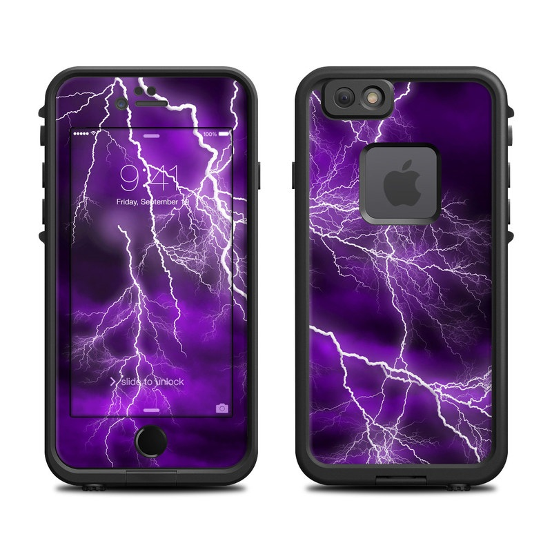 LifeProof iPhone 6s fre Case Skin design of Thunder, Lightning, Thunderstorm, Sky, Nature, Purple, Violet, Atmosphere, Storm, Electric blue with purple, black, white colors