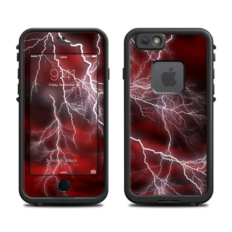 LifeProof iPhone 6s fre Case Skin design of Thunder, Thunderstorm, Lightning, Red, Nature, Sky, Atmosphere, Geological phenomenon, Lighting, Atmospheric phenomenon with red, black, white colors
