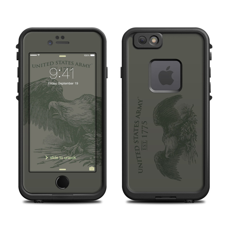 LifeProof iPhone 6s fre Case Skin design of Wing, Bird, Illustration, Eagle, Logo, Graphics, Drawing, Feather with gray colors