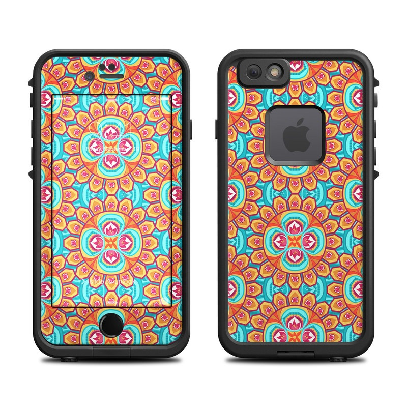 LifeProof iPhone 6s fre Case Skin design of Pattern, Orange, Design, Textile, Wrapping paper, Visual arts, Motif, Circle, Art with blue, orange, red, yellow colors