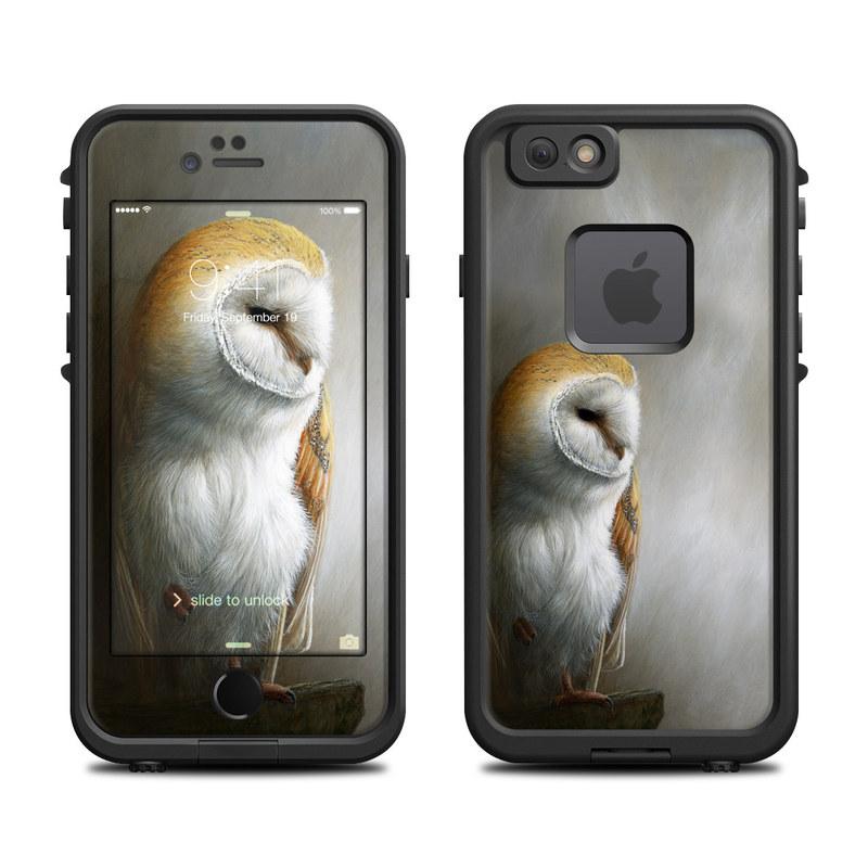 LifeProof iPhone 6s fre Case Skin design of Barn owl, Owl, Bird, Bird of prey, Beak, Wildlife with yellow, white, orange, brown colors