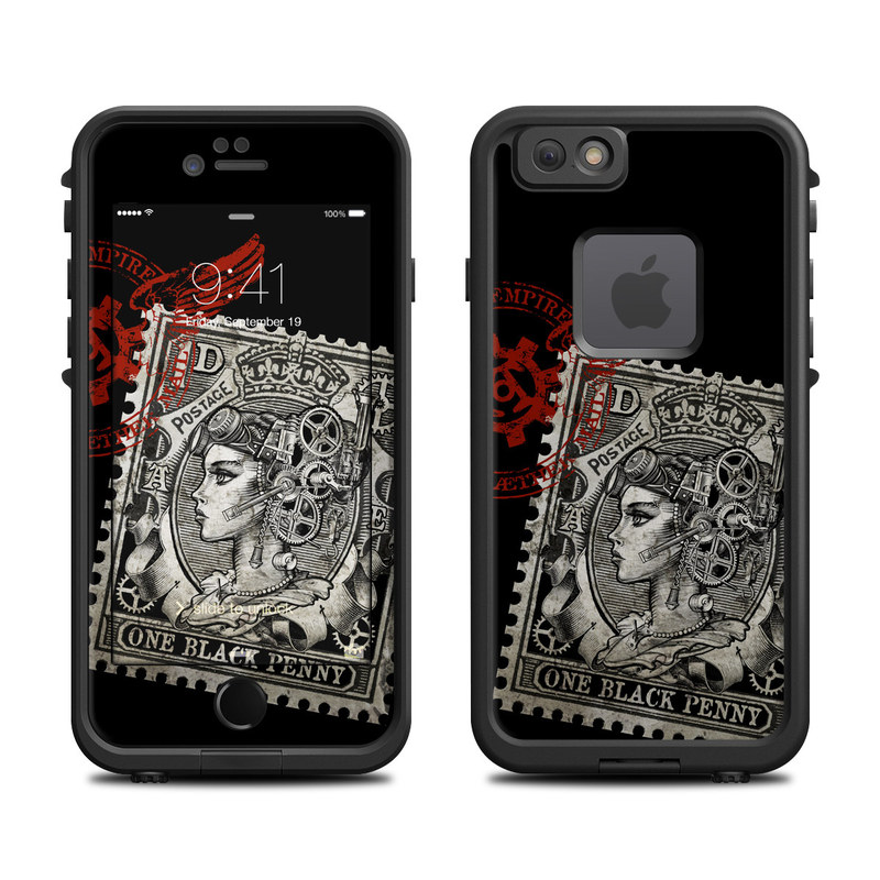 LifeProof iPhone 6s fre Case Skin design of Font, Postage stamp, Illustration, Drawing, Art with black, gray, red colors