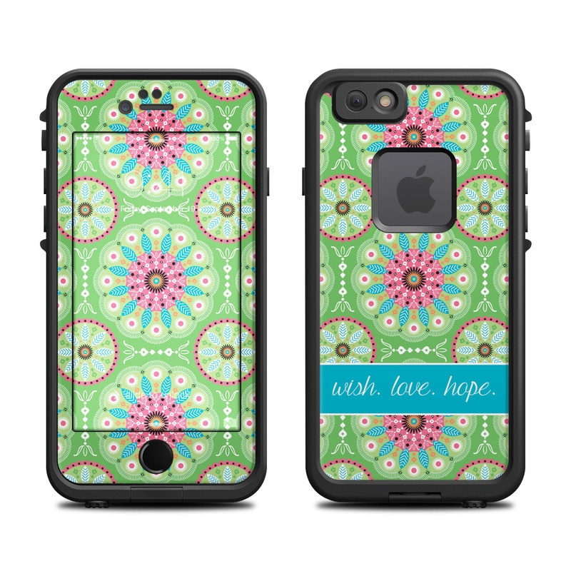 LifeProof iPhone 6s fre Case Skin design of Pattern, Aqua, Pink, Design, Textile, Visual arts, Line, Motif, Symmetry with blue, green, pink, red, white colors