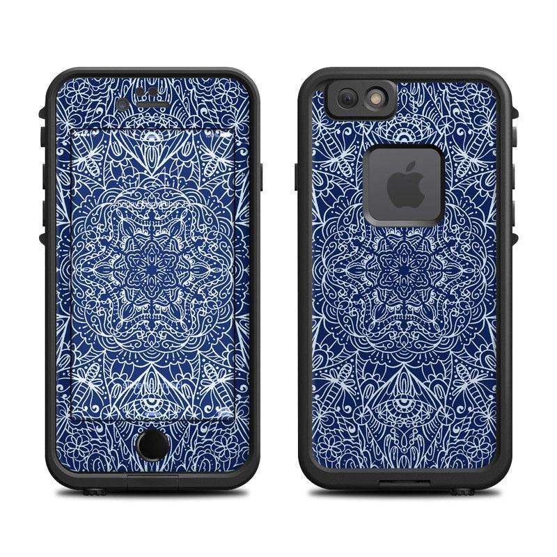 LifeProof iPhone 6s fre Case Skin design of Blue, Pattern, Azure, Cobalt blue, Design, Textile, Electric blue, Wallpaper, Symmetry with blue, white colors