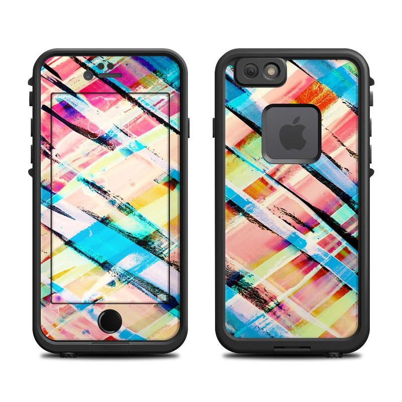 LifeProof iPhone 6s fre Case Skin design of Line, Pattern, Turquoise, Plaid, Orange, Colorfulness, Design, Textile, Tints and shades with blue, pink, red, purple, yellow, orange colors