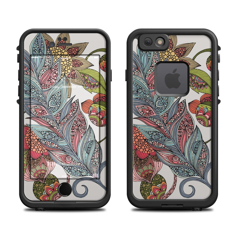 LifeProof iPhone 6s fre Case Skin design of Botany, Plant, Leaf, Pattern, Flower, Illustration, Design, Motif, Protea family, Flowering plant with green, blue, pink, red, yellow, orange, gray, brown colors