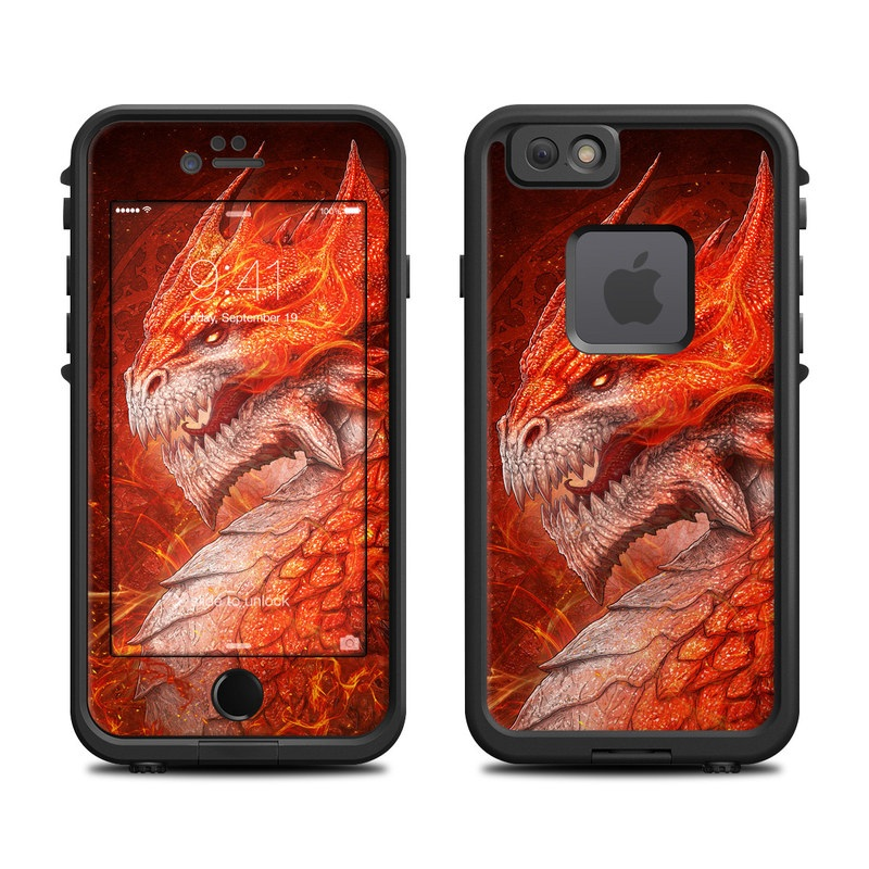 LifeProof iPhone 6s fre Case Skin design of Fictional character, Cg artwork, Illustration, Art, Demon, Geological phenomenon, Mythical creature, Dragon, Cryptid with red, orange, yellow colors