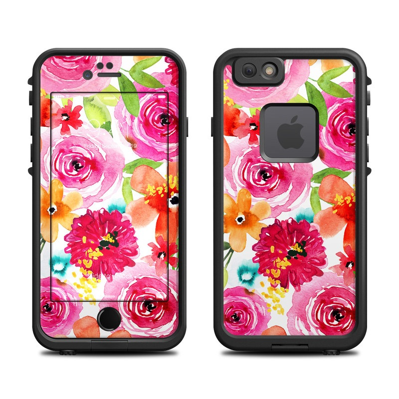 LifeProof iPhone 6s fre Case Skin design of Flower, Cut flowers, Floral design, Plant, Pink, Bouquet, Petal, Flower Arranging, Artificial flower, Clip art with pink, red, green, orange, yellow, blue, white colors