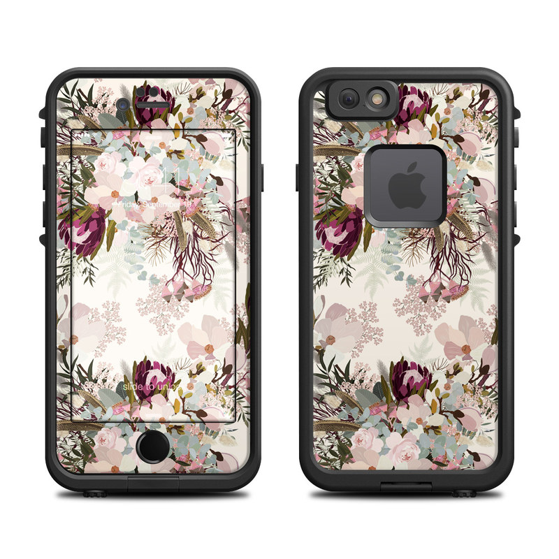 LifeProof iPhone 6s fre Case Skin design of Pink, Pattern, Lilac, Flower, Plant, Petal, Floral design, Textile, Design, Blossom with white, red, pink, blue, brown colors
