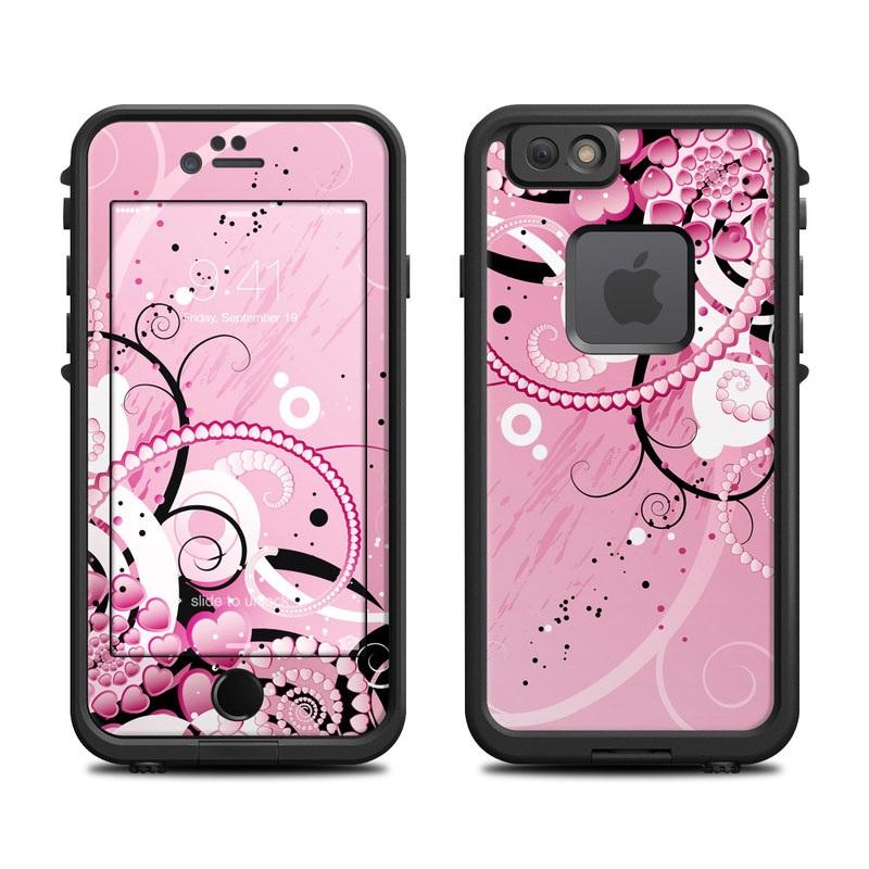 LifeProof iPhone 6s fre Case Skin design of Pink, Floral design, Graphic design, Text, Design, Flower Arranging, Pattern, Illustration, Flower, Floristry with pink, gray, black, white, purple, red colors
