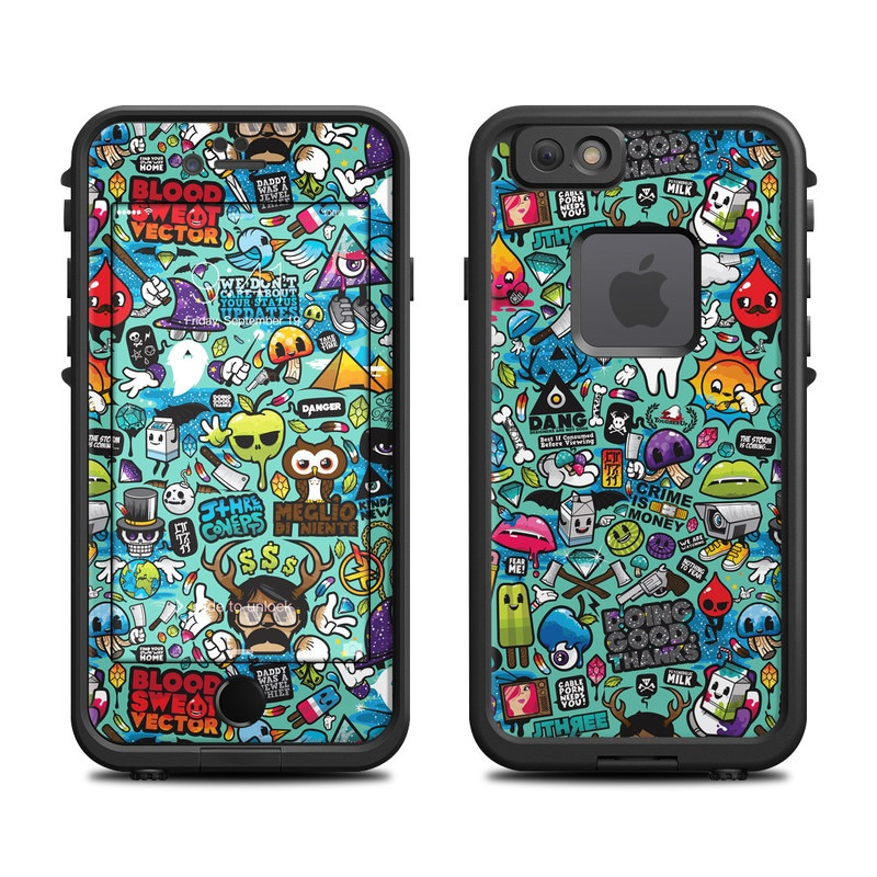 LifeProof iPhone 6s fre Case Skin design of Cartoon, Art, Pattern, Design, Illustration, Visual arts, Doodle, Psychedelic art with black, blue, gray, red, green colors